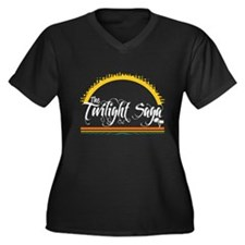Isle Twilight Women's Plus Size V-Neck Dark T-Shir