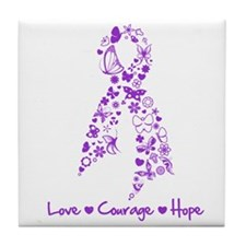 Epilepsy Butterfly Ribbon Tile Coaster