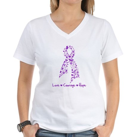 Butterfly Alzheimers Ribbon Women's V-Neck T-Shirt