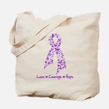 Butterfly Alzheimers Ribbon Tote Bag