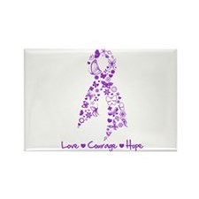 Butterfly Alzheimers Ribbon Rectangle Magnet