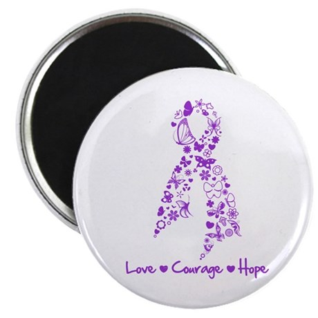 """Butterfly Alzheimers Ribbon 2.25"""" Magnet (100 pack"""