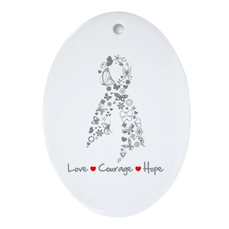 Butterfly Ribbon Brain Tumor Ornament (Oval)