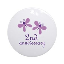 2nd Anniversary (Wedding) Ornament (Round)