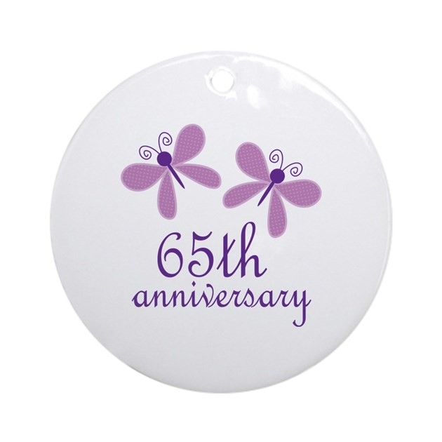 65 Wedding Anniversary Gift: 65th Anniversary (Wedding) Ornament (Round) By