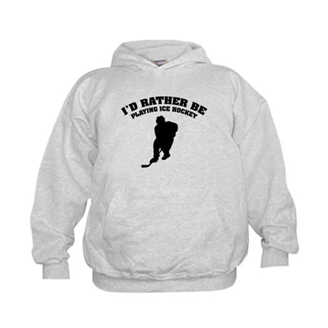 I'd rather be playing ice hockey Kids Hoodie