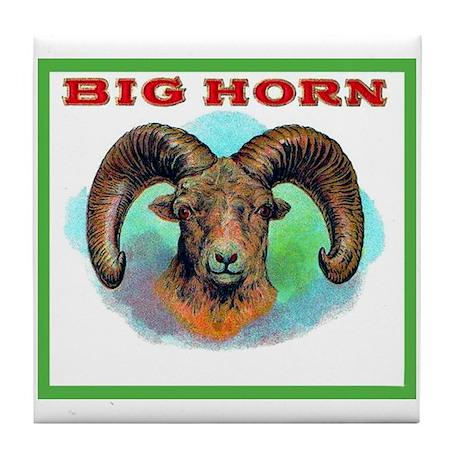 Big Horn Ram Cigar Label Tile Coaster
