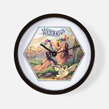 Mermaids Cigar Label Wall Clock