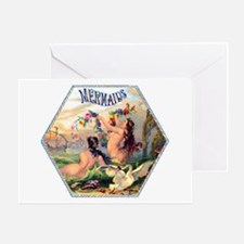 Mermaids Cigar Label Greeting Card