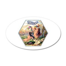 Mermaids Cigar Label 22x14 Oval Wall Peel