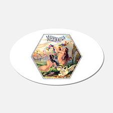 Mermaids Cigar Label 22x14 Oval Wall Peel