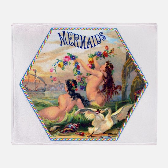 Mermaids Cigar Label Throw Blanket