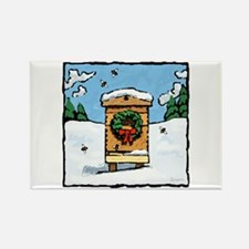 Christmas Bees Rectangle Magnet