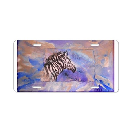 Zebra, wildlife, art, Aluminum License Plate