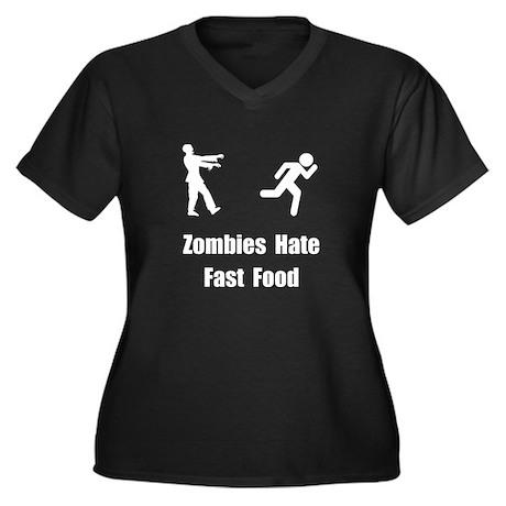 Zombies Hate Fast Food Women's Plus Size V-Neck Da