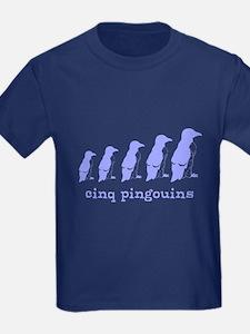 5 Penguins (blue) T
