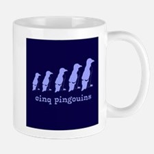 5 Penguins (blue) Mug