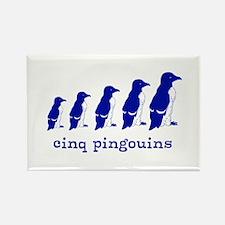 5 Penguins (blue) Rectangle Magnet