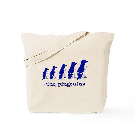 5 Penguins (blue) Tote Bag