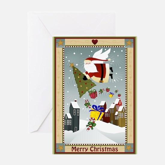 Santa Angel (Blank Ins) Greeting Card