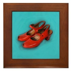 Vintage Red Shoes Painting on Tile