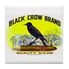 Black Crow Cigar Label Tile Coaster