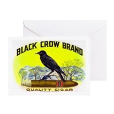 Black Crow Cigar Label Greeting Card