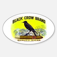 Black Crow Cigar Label Sticker (Oval)