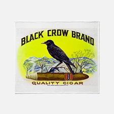 Black Crow Cigar Label Throw Blanket