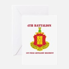 DUI - 4th Bn - 1st FA Regt with Text Greeting Card