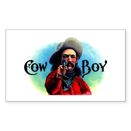 Cowboy Cigar Label Sticker (Rectangle)
