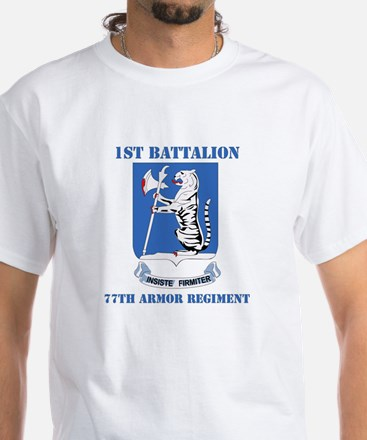 DUI - 1st Bn - 77th Armor Regt with Text White T-S