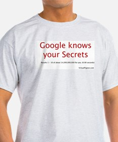 Google knows your Secrets Ash Grey T-Shirt