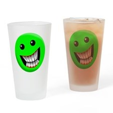 Light Green Smiley Face Drinking Glass