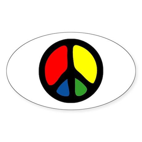 HIPPIE GROOVE PEACE Oval Sticker