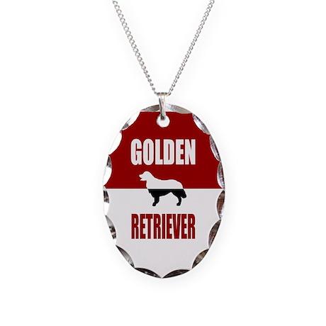 Golden Retriever Necklace Oval Charm