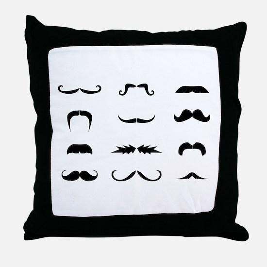 Moustache collection Throw Pillow