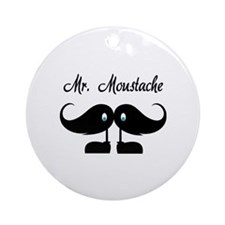 Mr Moustache Ornament (Round)