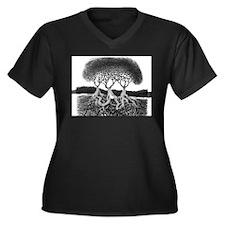 Three Tree Women's Plus Size V-Neck Dark T-Shirt