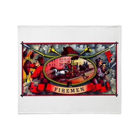 Firemen Cigar Label Throw Blanket
