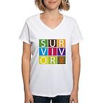 COPD Survivor Color Block Women's V-Neck T-Shirt