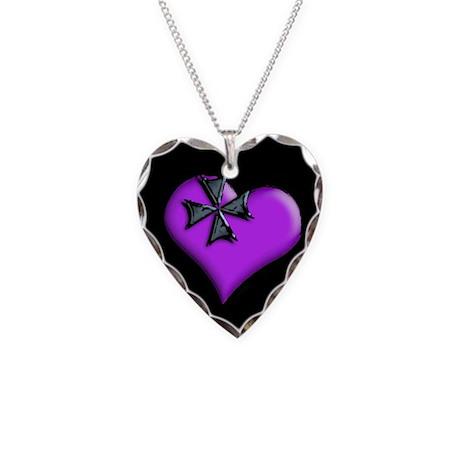 Violet Maltese Cross Heart Necklace Heart Charm