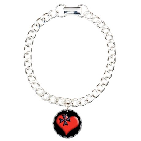 Red Maltese Cross Heart Charm Bracelet, One Charm