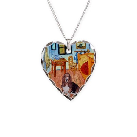 Room with a Basset Necklace Heart Charm
