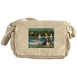 Sailboats & Basset Messenger Bag