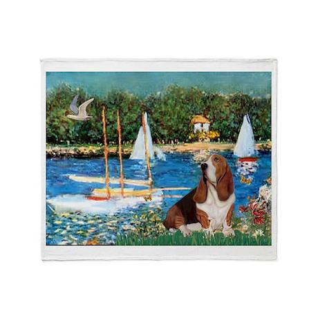 Sailboats & Basset Throw Blanket