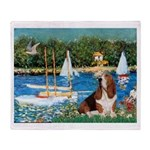 Sailboats & Basset Throw Blanket
