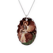 Seated Angel & Basset Necklace