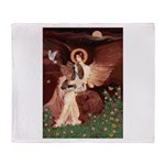 Seated Angel & Basset Throw Blanket