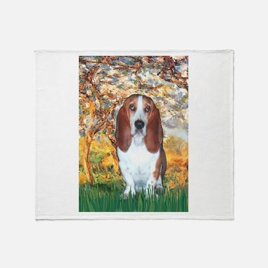 Monet's Spring & Basset Throw Blanket